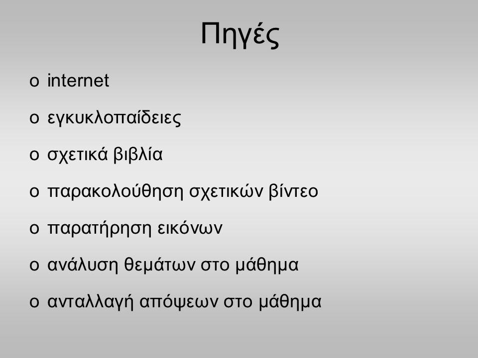 Πηγές internet εγκυκλοπαίδειες σχετικά βιβλία