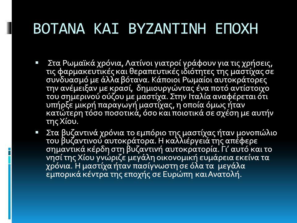 ΒΟΤΑΝΑ ΚΑΙ ΒΥΖΑΝΤΙΝΗ ΕΠΟΧΗ