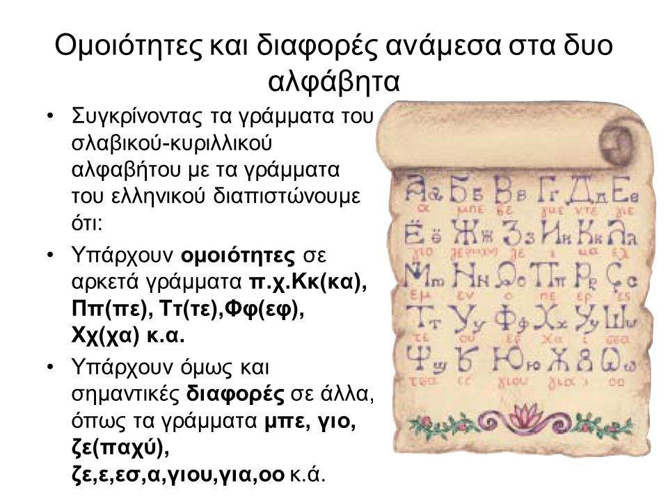 Ομοιότητες και διαφορές ανάμεσα στα δυο αλφάβητα