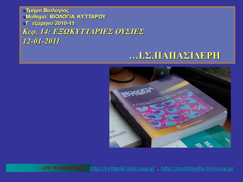 …I.Σ.ΠΑΠΑΣΙΔΕΡΗ Κεφ. 14: ΕΞΩΚΥΤΤΑΡΙΕΣ ΟΥΣΙΕΣ 12-01-2011