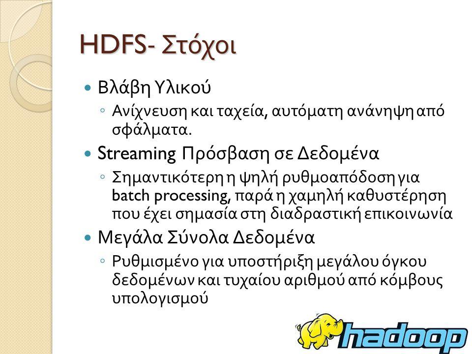 HDFS- Στόχοι Βλάβη Υλικού Streaming Πρόσβαση σε Δεδομένα