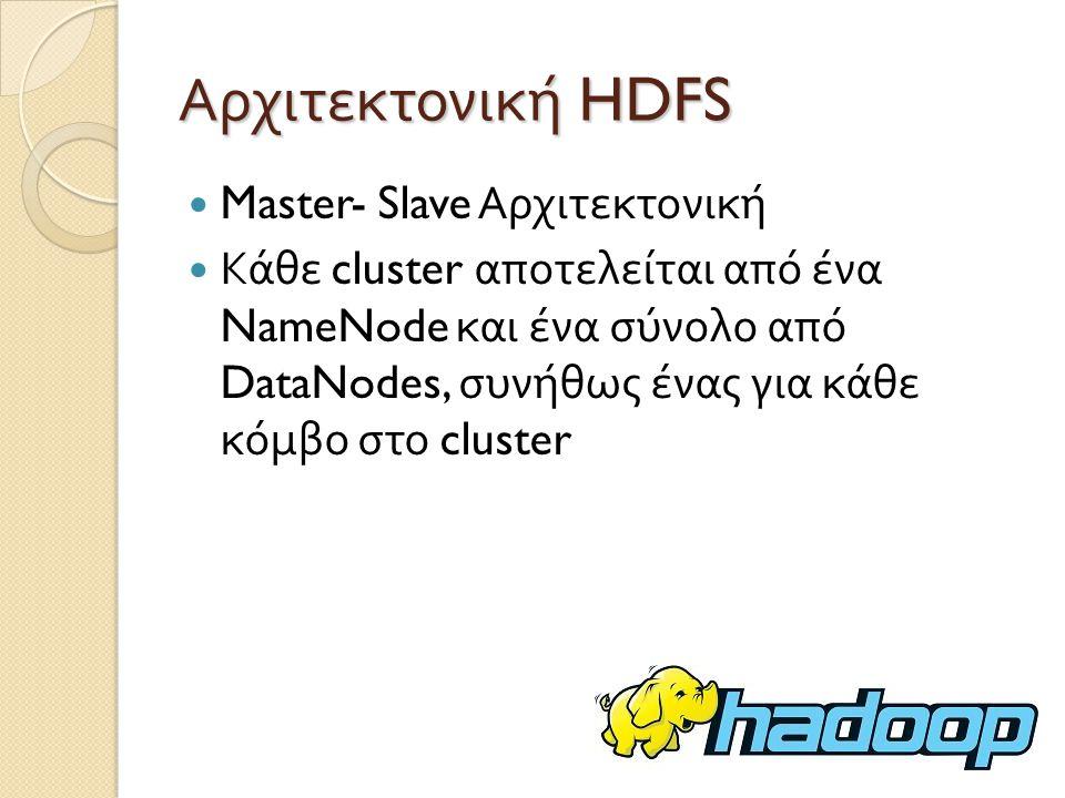 Αρχιτεκτονική HDFS Master- Slave Αρχιτεκτονική