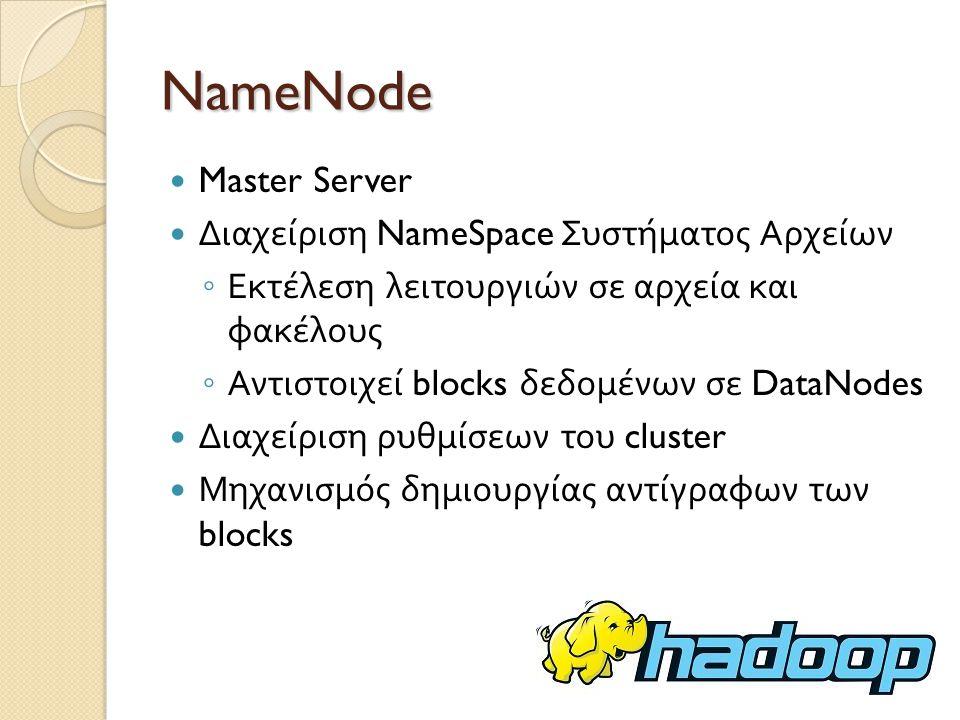 NameNode Master Server Διαχείριση NameSpace Συστήματος Αρχείων
