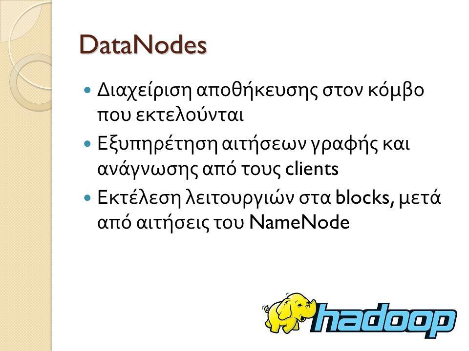 DataNodes Διαχείριση αποθήκευσης στον κόμβο που εκτελούνται