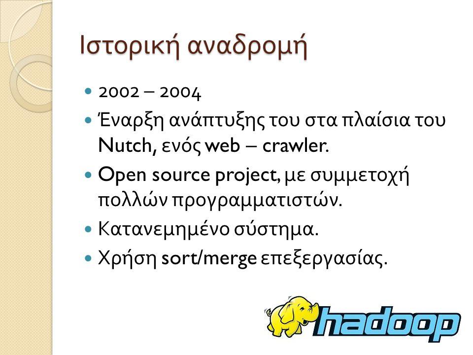 Ιστορική αναδρομή 2002 – 2004. Έναρξη ανάπτυξης του στα πλαίσια του Nutch, ενός web – crawler.
