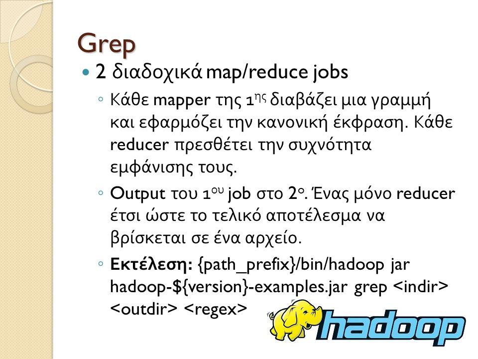 Grep 2 διαδοχικά map/reduce jobs