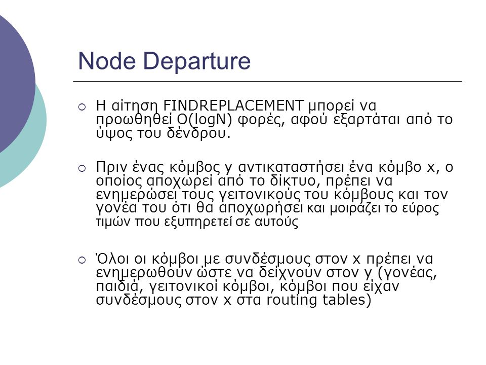 Node Departure Η αίτηση FINDREPLACEMENT μπορεί να προωθηθεί O(logN) φορές, αφού εξαρτάται από το ύψος του δένδρου.
