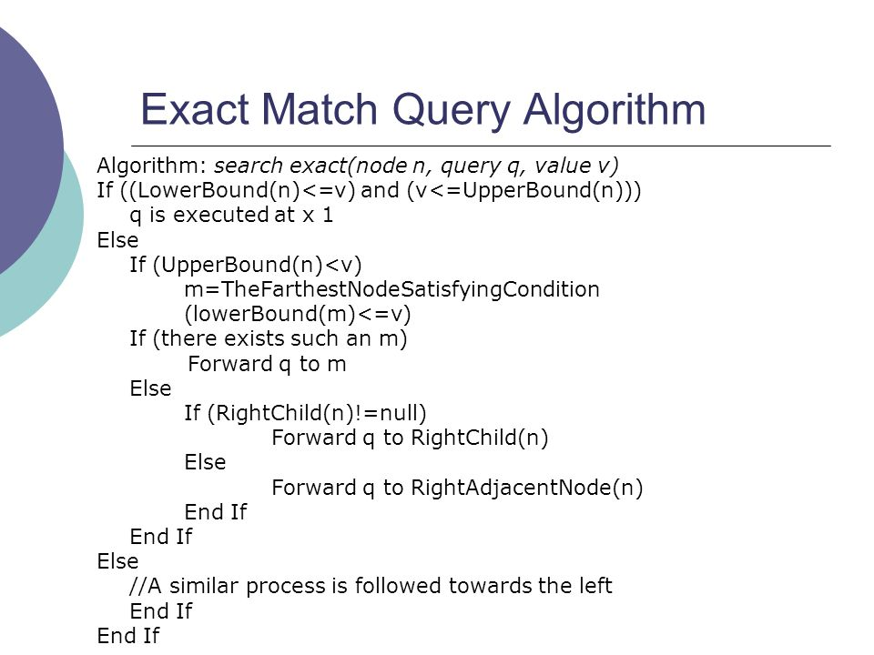 Exact Match Query Algorithm