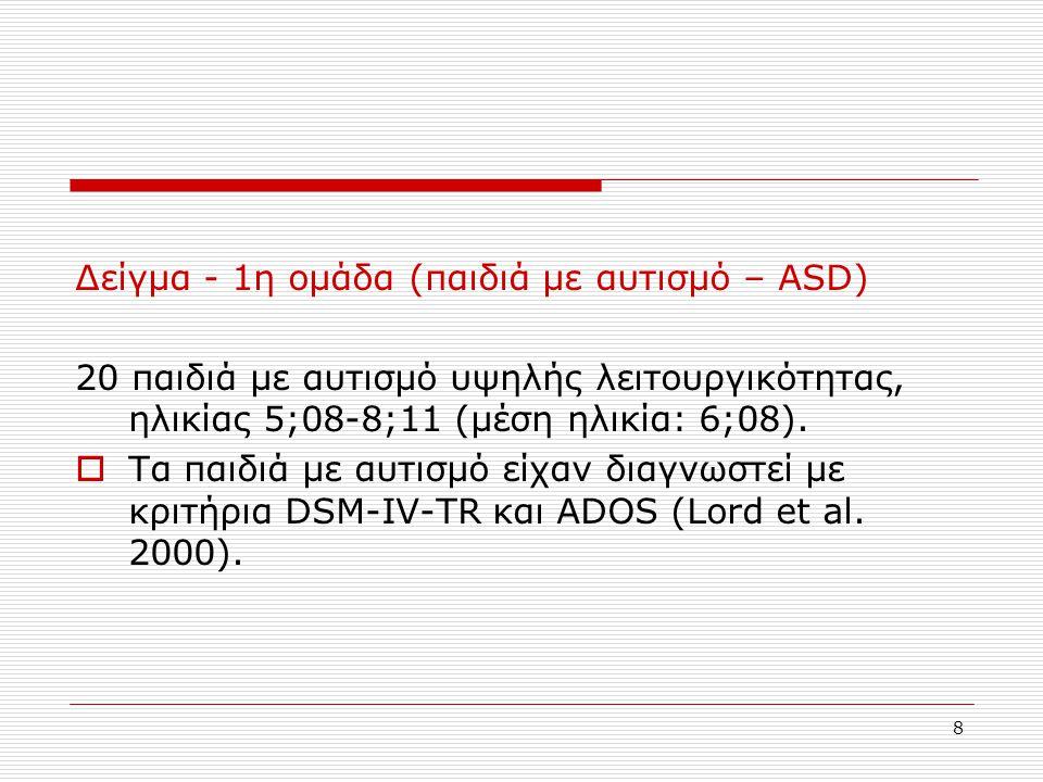 Δείγμα - 1η ομάδα (παιδιά με αυτισμό – ASD)