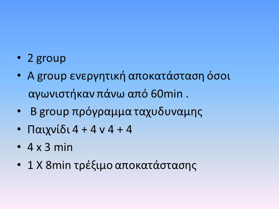 2 group A group ενεργητική αποκατάσταση όσοι. αγωνιστήκαν πάνω από 60min . Β group πρόγραμμα ταχυδυναμης.