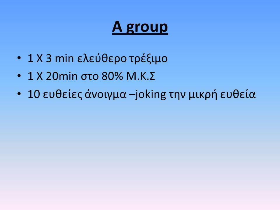 A group 1 X 3 min ελεύθερο τρέξιμο 1 Χ 20min στο 80% Μ.Κ.Σ