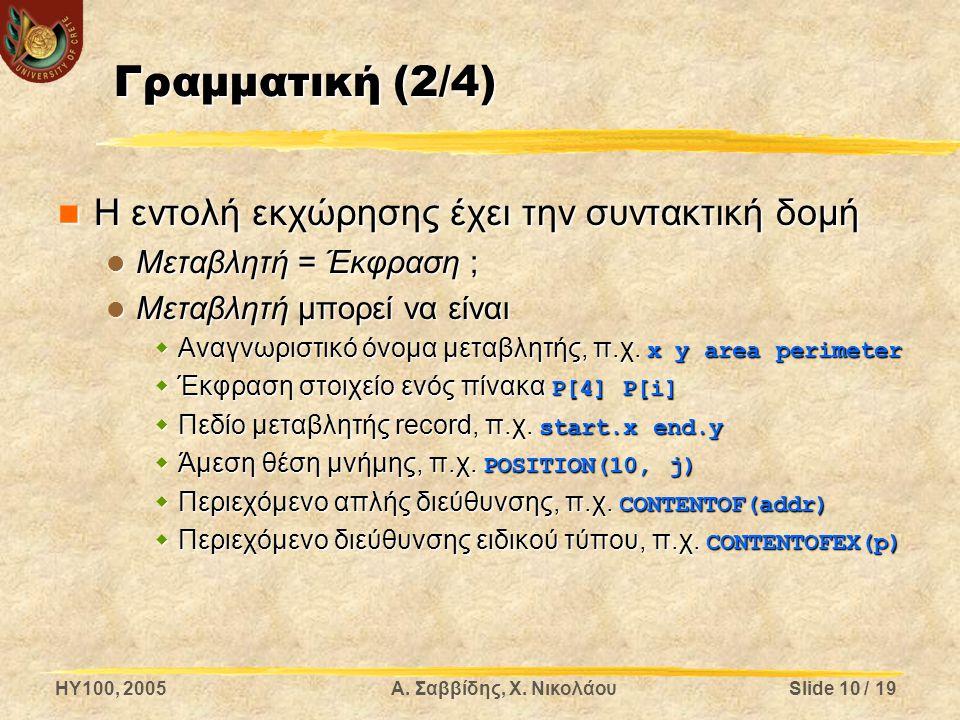 Γραμματική (2/4) Η εντολή εκχώρησης έχει την συντακτική δομή
