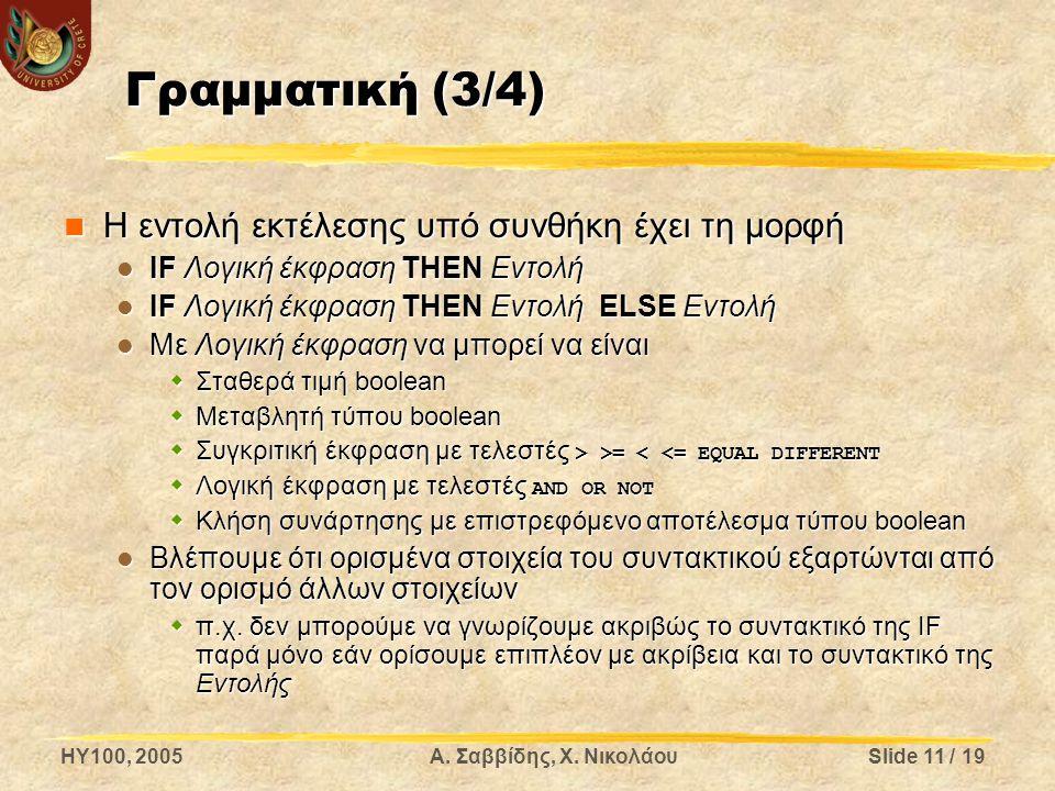 Γραμματική (3/4) Η εντολή εκτέλεσης υπό συνθήκη έχει τη μορφή