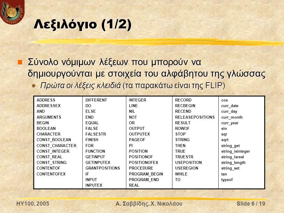 Λεξιλόγιο (1/2) Σύνολο νόμιμων λέξεων που μπορούν να δημιουργούνται με στοιχεία του αλφάβητου της γλώσσας.