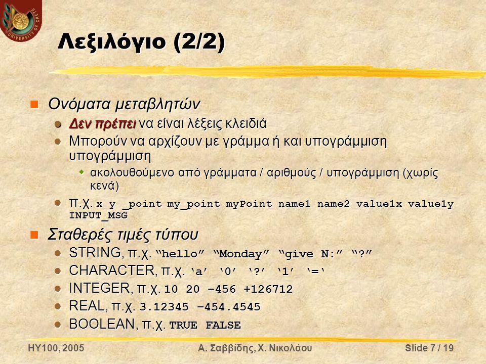 Λεξιλόγιο (2/2) Ονόματα μεταβλητών Σταθερές τιμές τύπου
