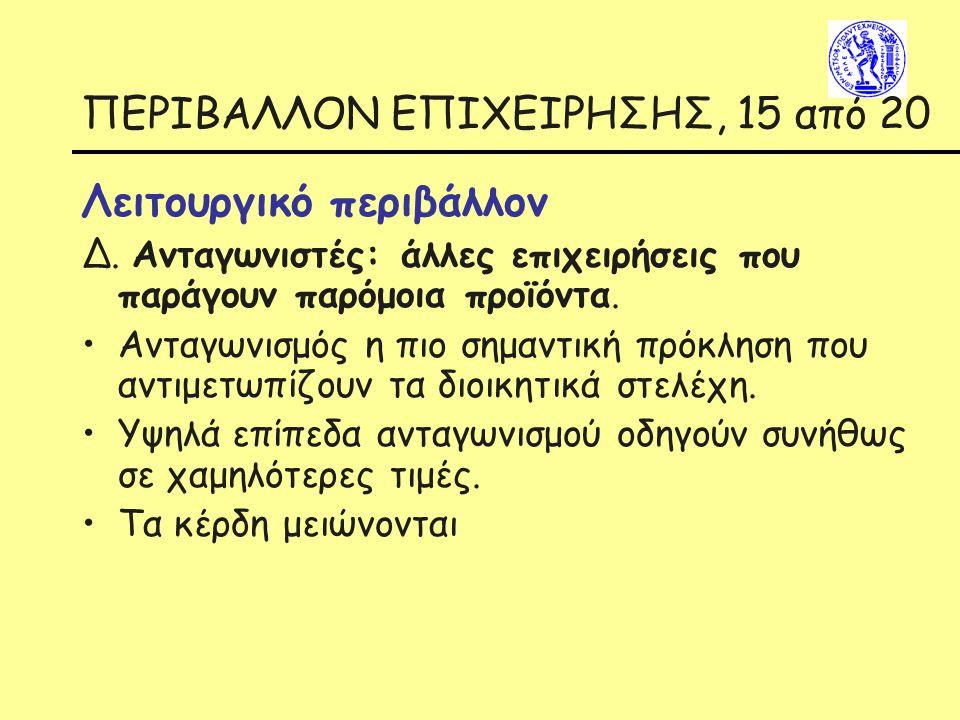 ΠΕΡΙΒΑΛΛΟΝ ΕΠΙΧΕΙΡΗΣΗΣ, 15 από 20