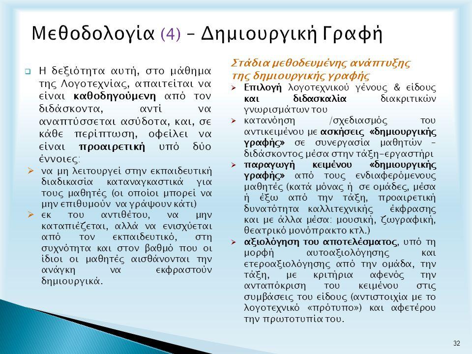Μεθοδολογία (4) – Δημιουργική Γραφή