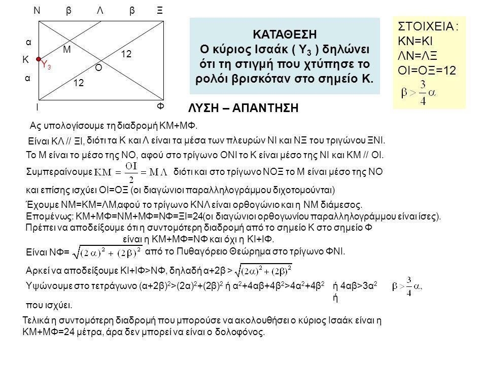 Λ Y3. β. α. 12. Ξ. Ο. Φ. Ν. Μ. Κ. Ι. ΚΑΤΑΘΕΣΗ Ο κύριος Ισαάκ ( Υ3 ) δηλώνει ότι τη στιγμή που χτύπησε το ρολόι βρισκόταν στο σημείο Κ.