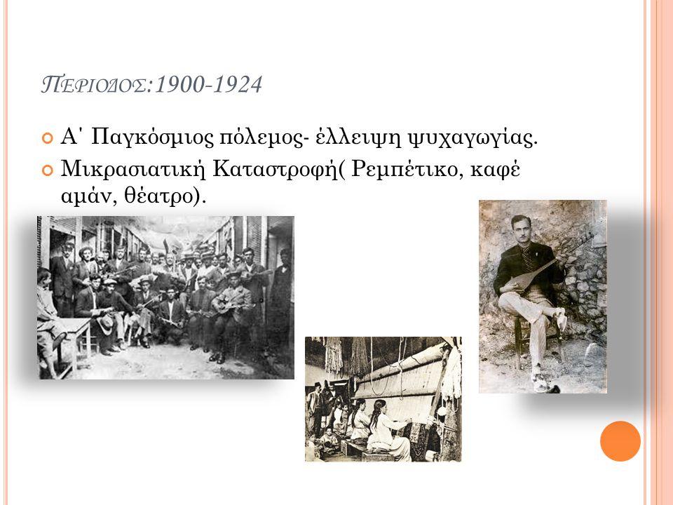 Περιοδος:1900-1924 Α΄ Παγκόσμιος πόλεμος- έλλειψη ψυχαγωγίας.