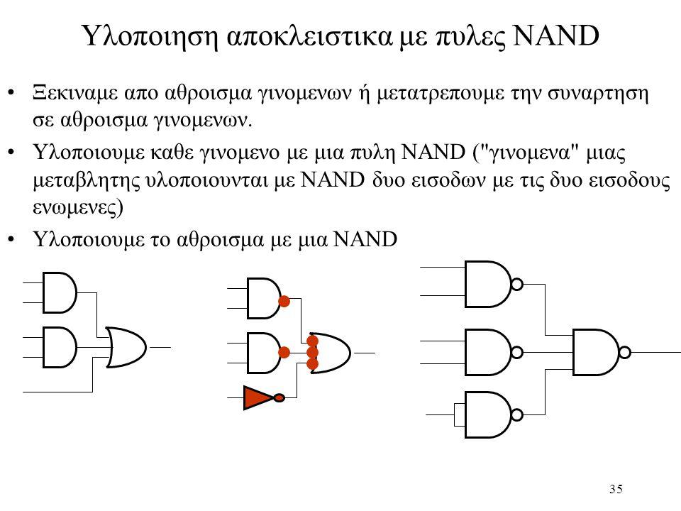 Υλοποιηση αποκλειστικα με πυλες NAND