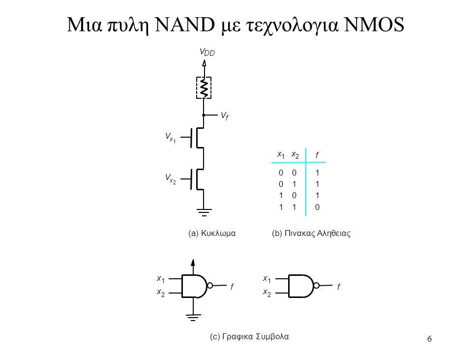 Μια πυλη NAND με τεχνολογια NMOS