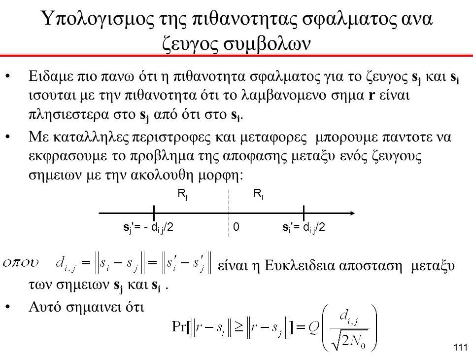 Υπολογισμος της πιθανοτητας σφαλματος ανα ζευγος συμβολων