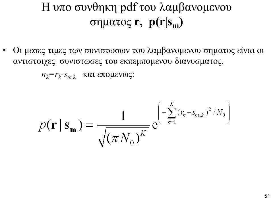Η υπο συνθηκη pdf του λαμβανομενου σηματος r, p(r|sm)