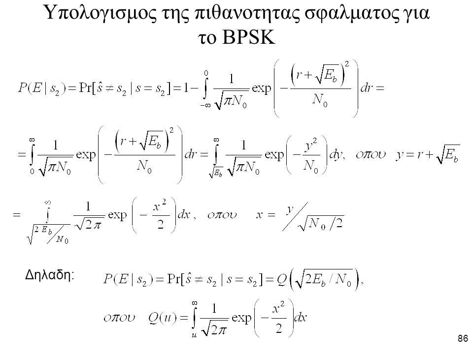 Υπολογισμος της πιθανοτητας σφαλματος για το BPSK