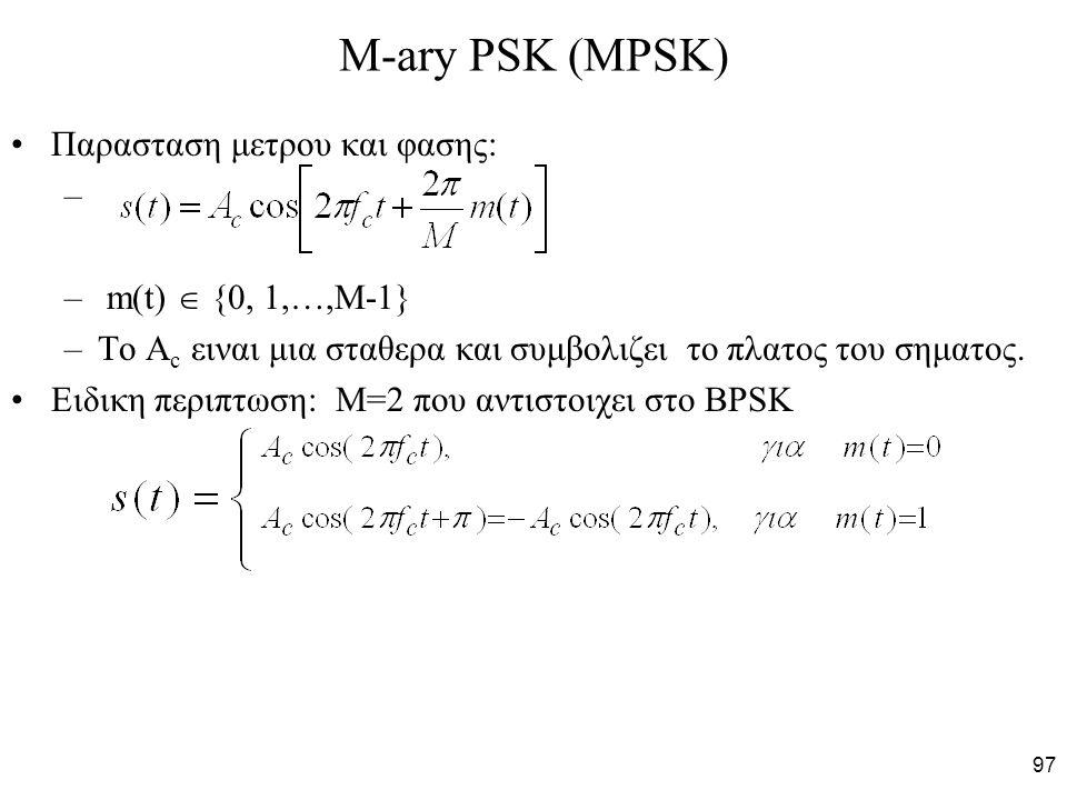 M-ary PSK (MPSK) Παρασταση μετρου και φασης: m(t)  {0, 1,…,M-1}
