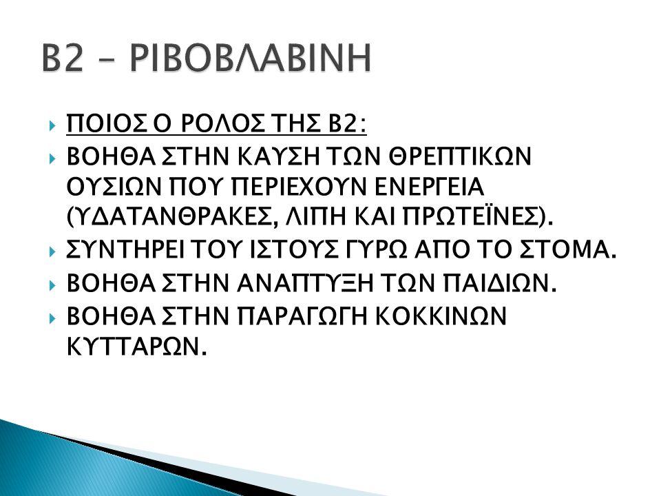 Β2 – ΡΙΒΟΒΛΑΒΙΝΗ ΠΟΙΟΣ Ο ΡΟΛΟΣ ΤΗΣ Β2: