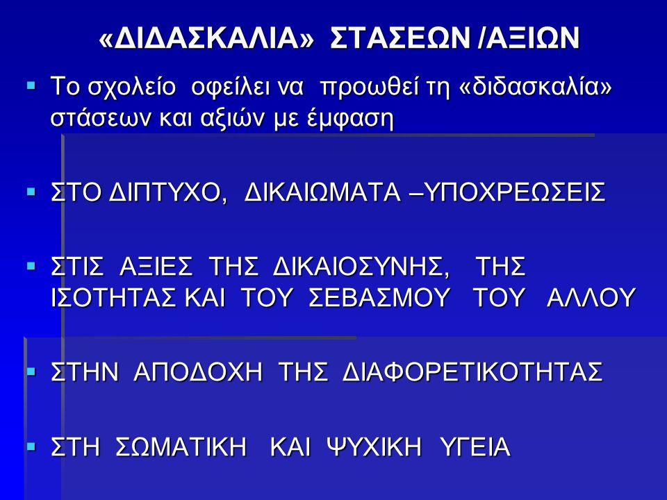 «ΔΙΔΑΣΚΑΛΙΑ» ΣΤΑΣΕΩΝ /ΑΞΙΩΝ