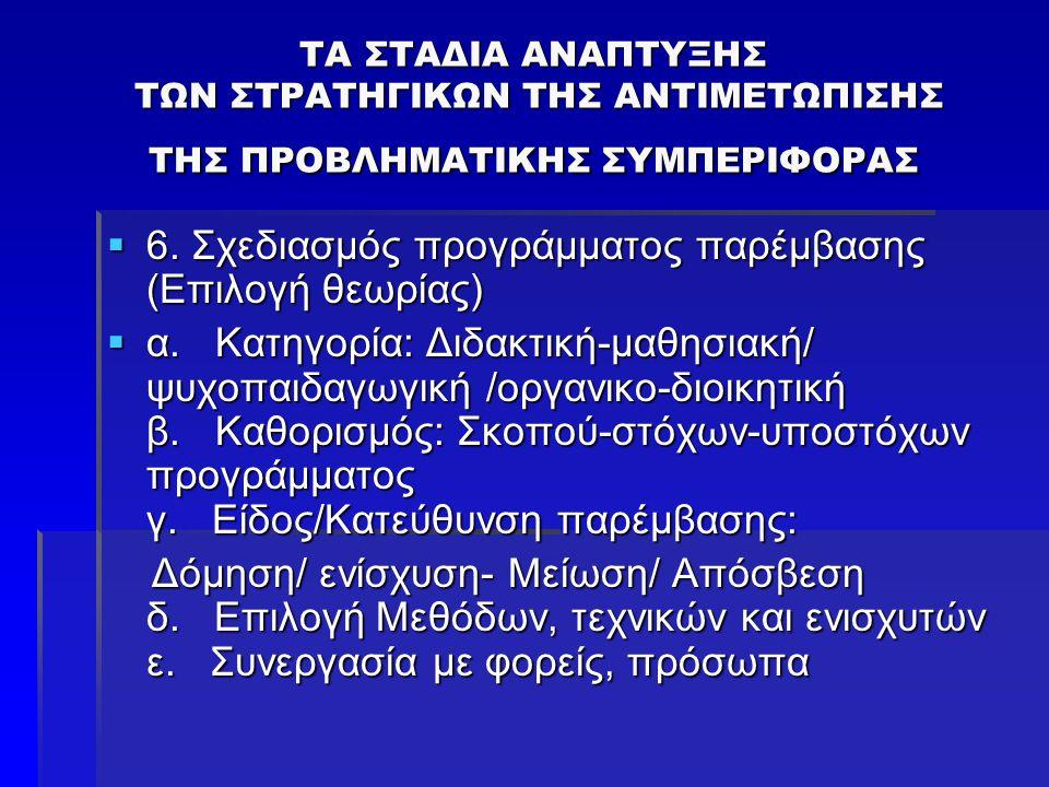 6. Σχεδιασμός προγράμματος παρέμβασης (Επιλογή θεωρίας)