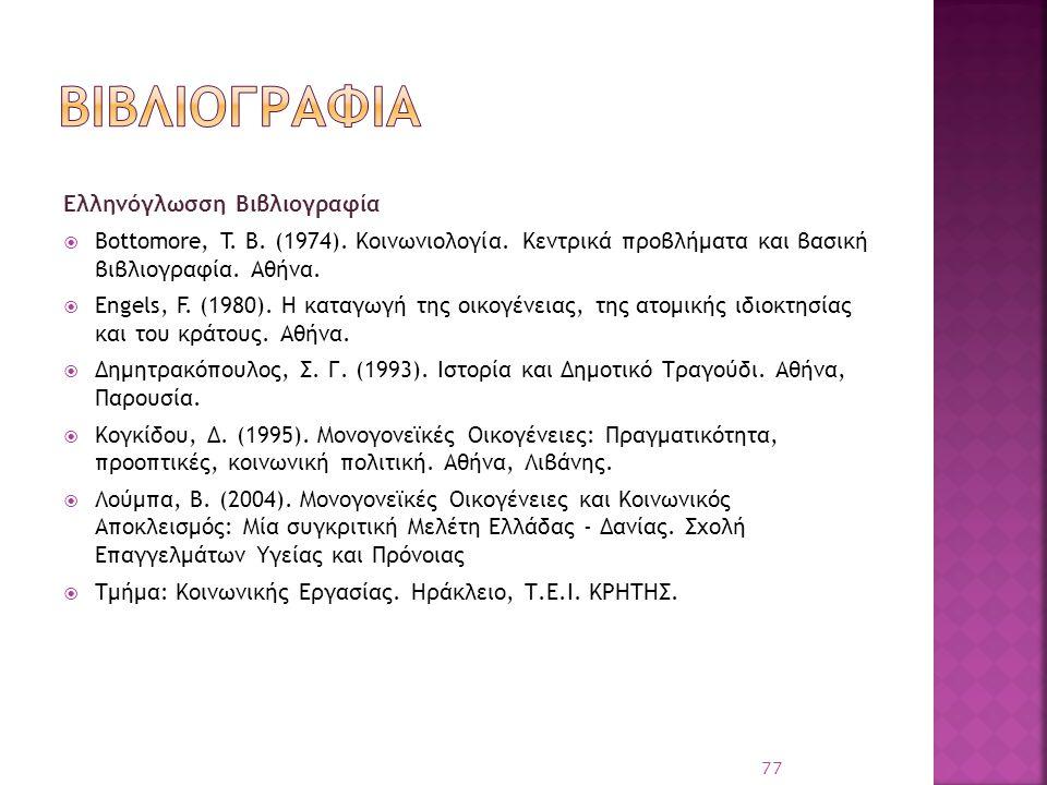 βιβλιογραφια Eλληνόγλωσση Βιβλιογραφία