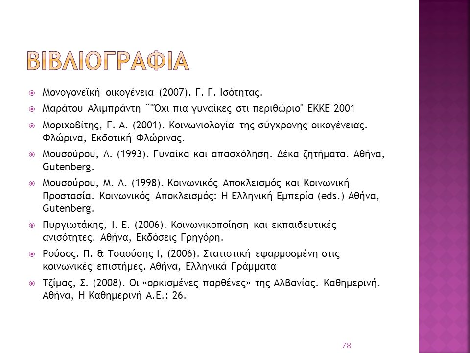 βιβλιογραφια Μονογονεϊκή οικογένεια (2007). Γ. Γ. Ισότητας.