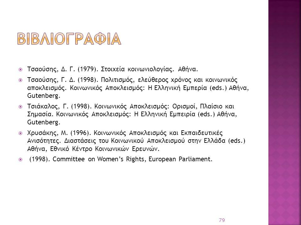 βιβλιογραφια Τσαούσης, Δ. Γ. (1979). Στοιχεία κοινωνιολογίας. Αθήνα.
