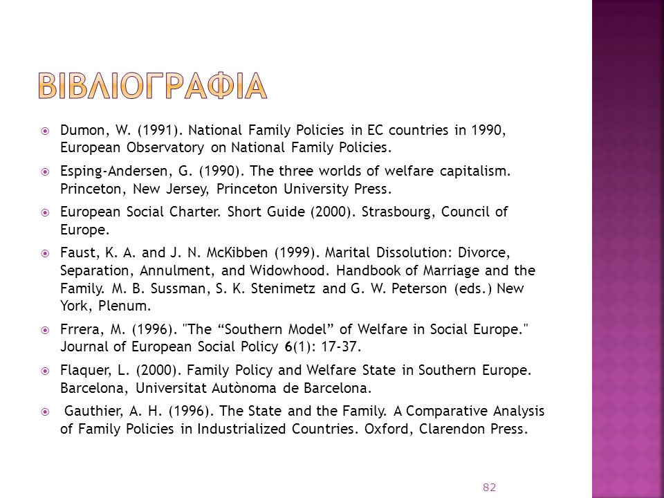 βιβλιογραφια Dumon, W. (1991). National Family Policies in EC countries in 1990, European Observatory on National Family Policies.