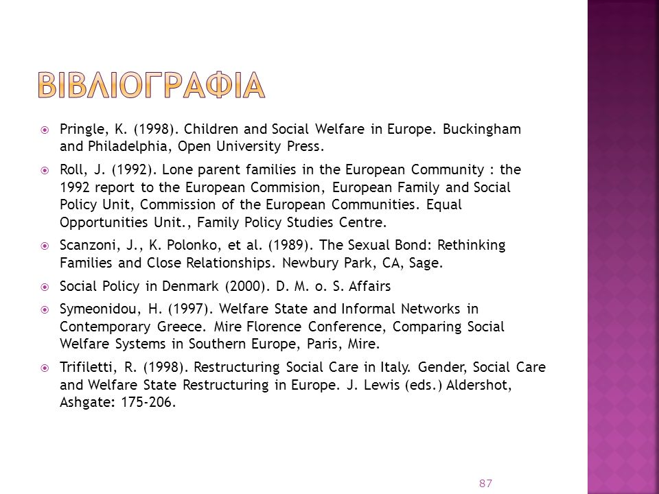 βιβλιογραφια Pringle, K. (1998). Children and Social Welfare in Europe. Buckingham and Philadelphia, Open University Press.