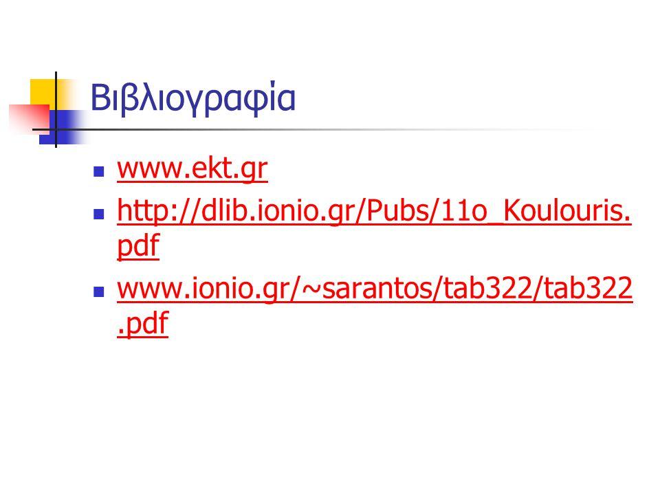 Βιβλιογραφία www.ekt.gr http://dlib.ionio.gr/Pubs/11o_Koulouris.pdf