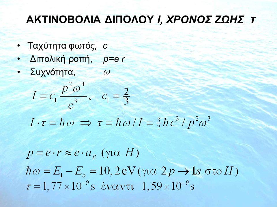ΑΚΤΙΝΟΒΟΛΙΑ ΔΙΠΟΛΟΥ Ι, XΡΟΝΟΣ ΖΩΗΣ τ