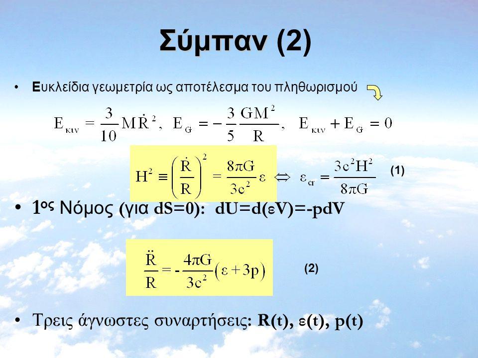 Σύμπαν (2) 1ος Νόμος (για dS=0): dU=d(εV)=-pdV