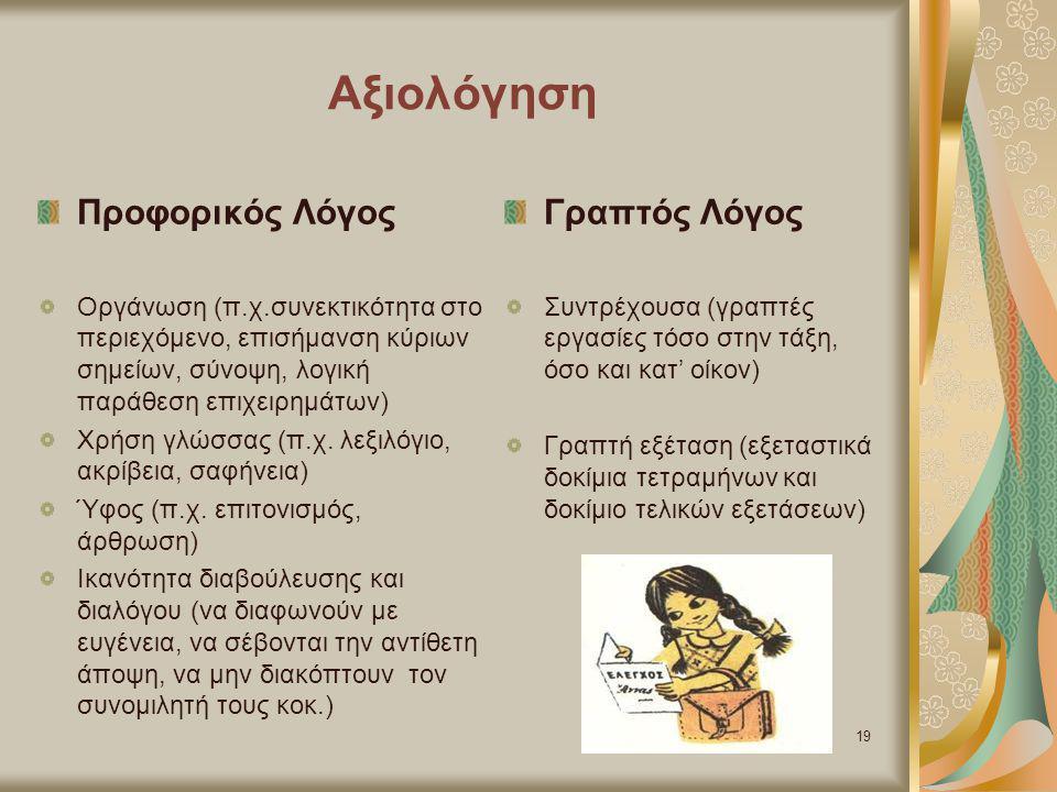 Αξιολόγηση Προφορικός Λόγος Γραπτός Λόγος