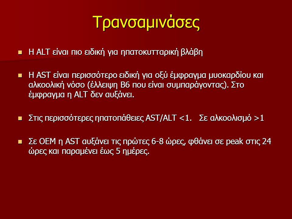 Τρανσαμινάσες Η ALT είναι πιο ειδική για ηπατοκυτταρική βλάβη