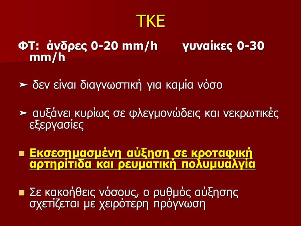 TKE ΦΤ: άνδρες 0-20 mm/h γυναίκες 0-30 mm/h