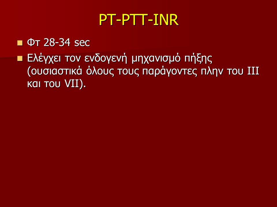PT-PTT-INR Φτ 28-34 sec.