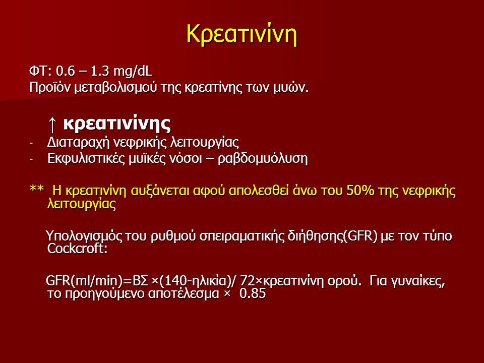 Κρεατινίνη ↑ κρεατινίνης ΦΤ: 0.6 – 1.3 mg/dL