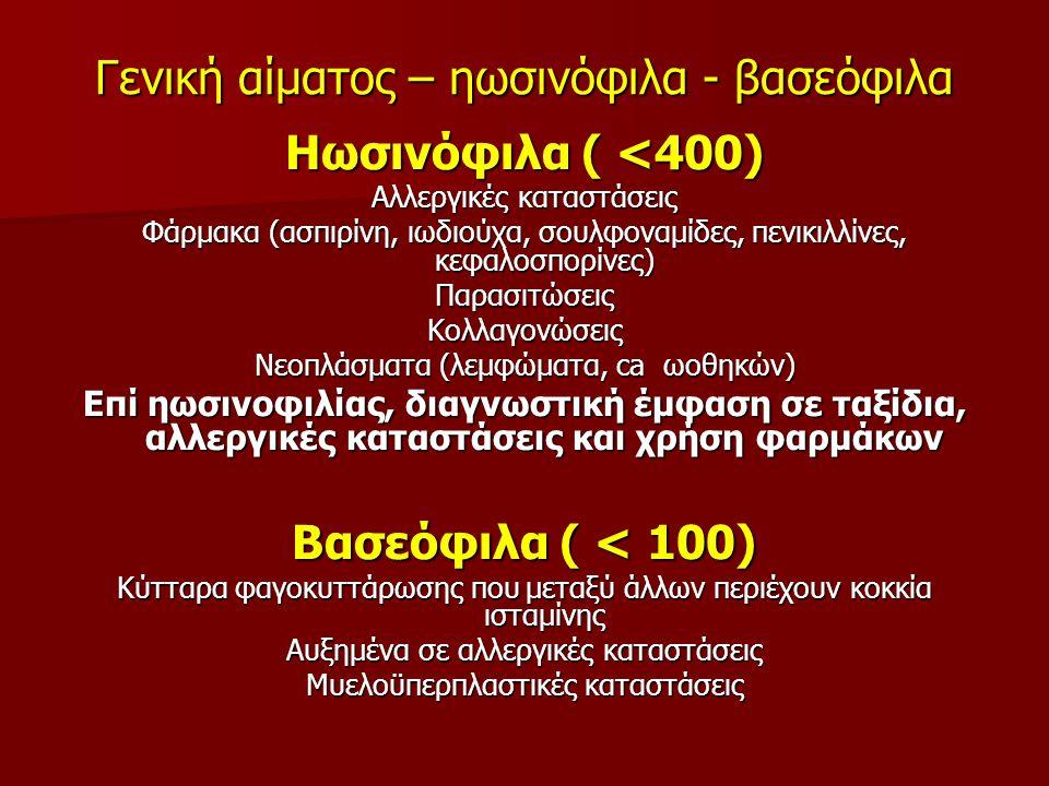 Γενική αίματος – ηωσινόφιλα - βασεόφιλα
