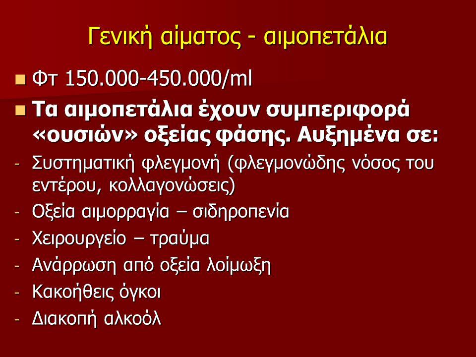 Γενική αίματος - αιμοπετάλια