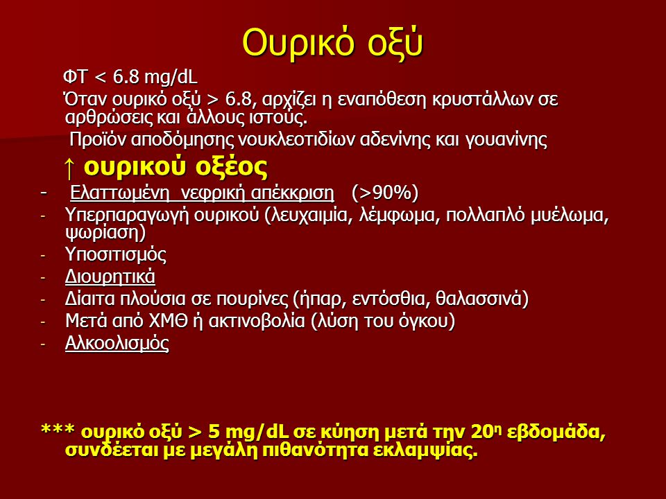 Ουρικό οξύ ↑ ουρικού οξέος ΦΤ < 6.8 mg/dL