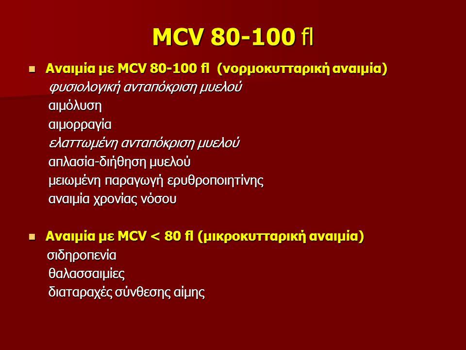 MCV 80-100 fl Αναιμία με MCV 80-100 fl (νορμοκυτταρική αναιμία)
