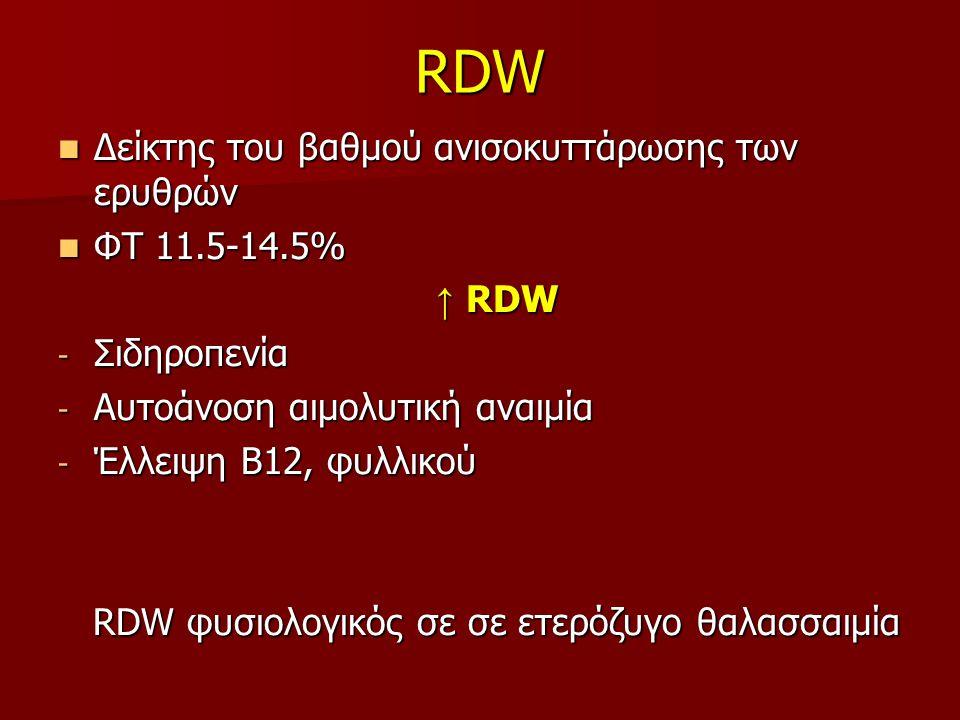 RDW Δείκτης του βαθμού ανισοκυττάρωσης των ερυθρών ΦΤ 11.5-14.5% ↑ RDW